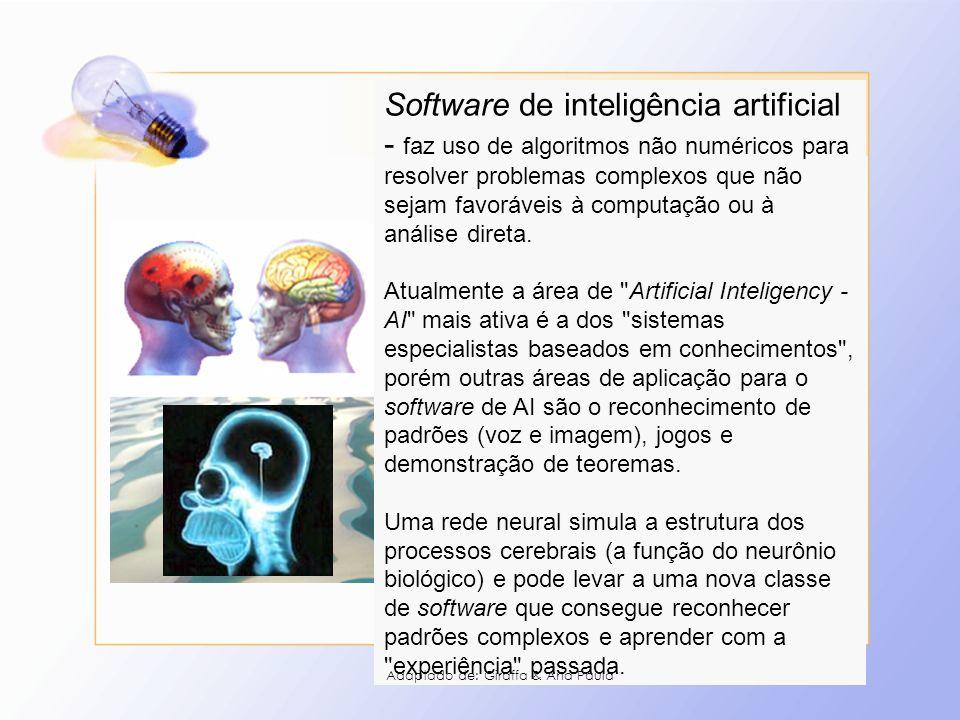Software de inteligência artificial - faz uso de algoritmos não numéricos para resolver problemas complexos que não sejam favoráveis à computação ou à análise direta.
