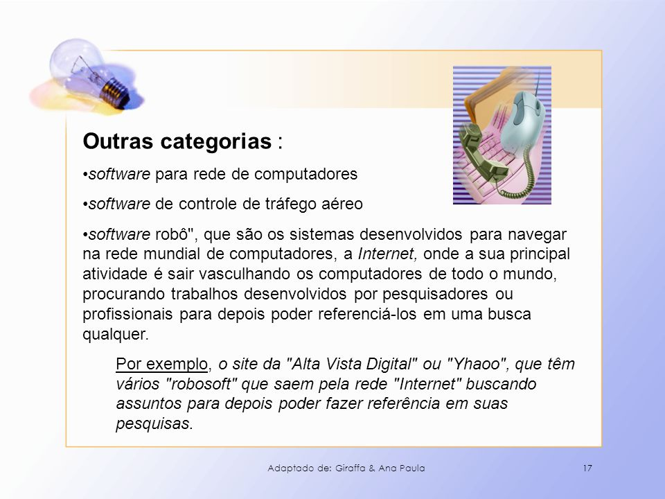 Outras categorias : software para rede de computadores