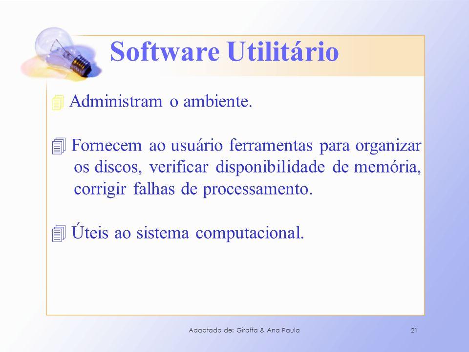 Software Utilitário Fornecem ao usuário ferramentas para organizar