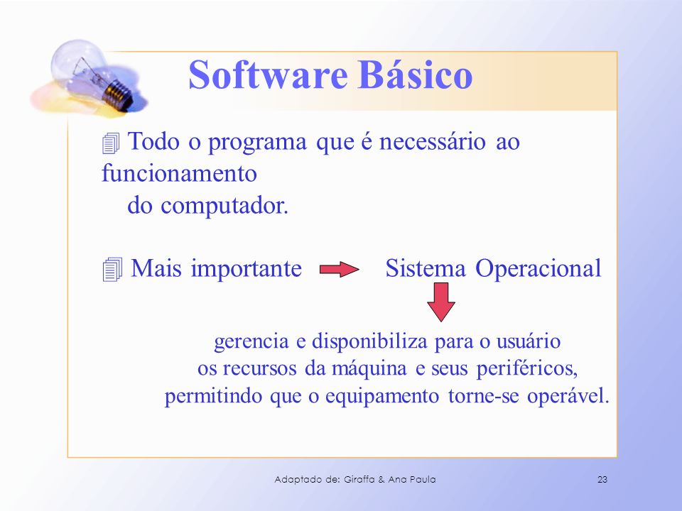Software Básico do computador. Mais importante Sistema Operacional