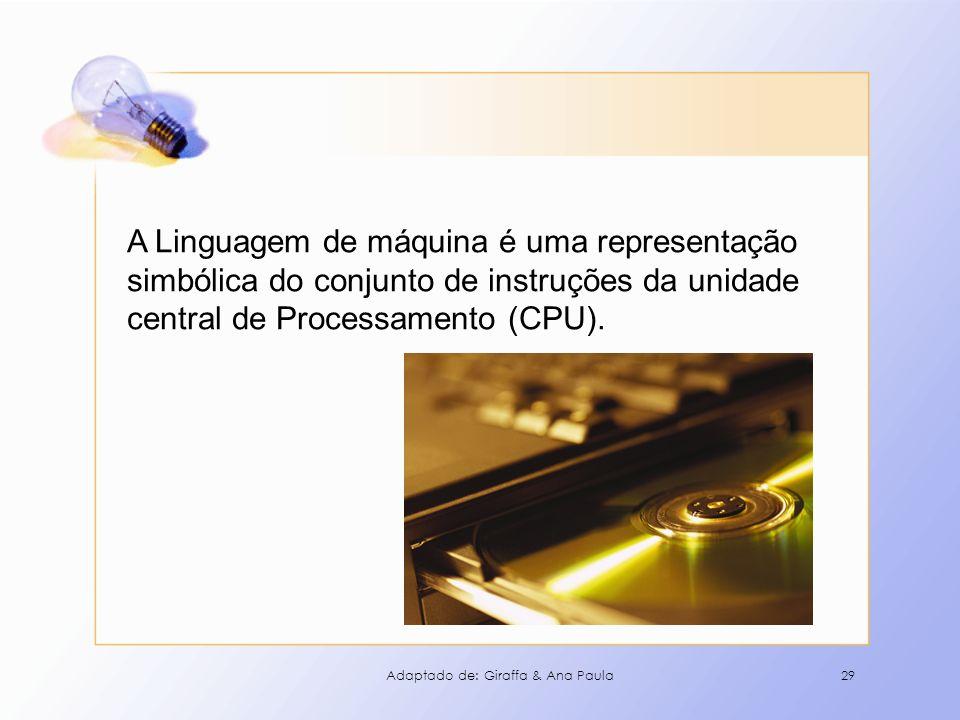 A Linguagem de máquina é uma representação simbólica do conjunto de instruções da unidade central de Processamento (CPU).