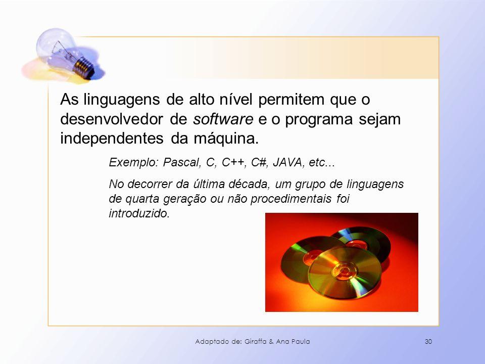 As linguagens de alto nível permitem que o desenvolvedor de software e o programa sejam independentes da máquina.