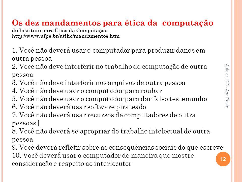 Os dez mandamentos para ética da computação