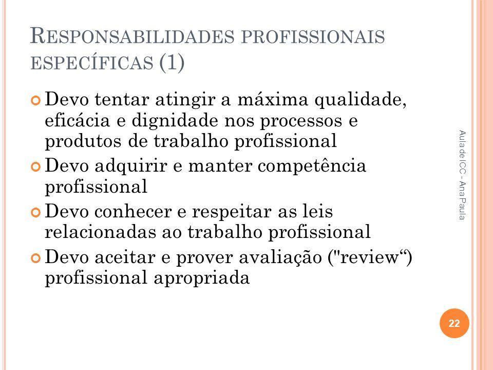 Responsabilidades profissionais específicas (1)