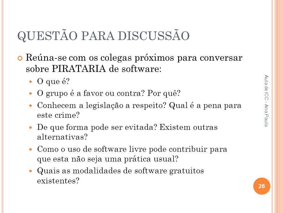QUESTÃO PARA DISCUSSÃO