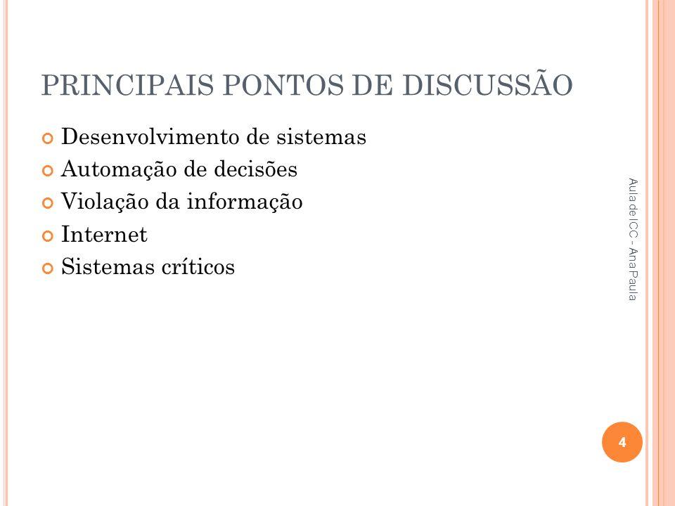 PRINCIPAIS PONTOS DE DISCUSSÃO