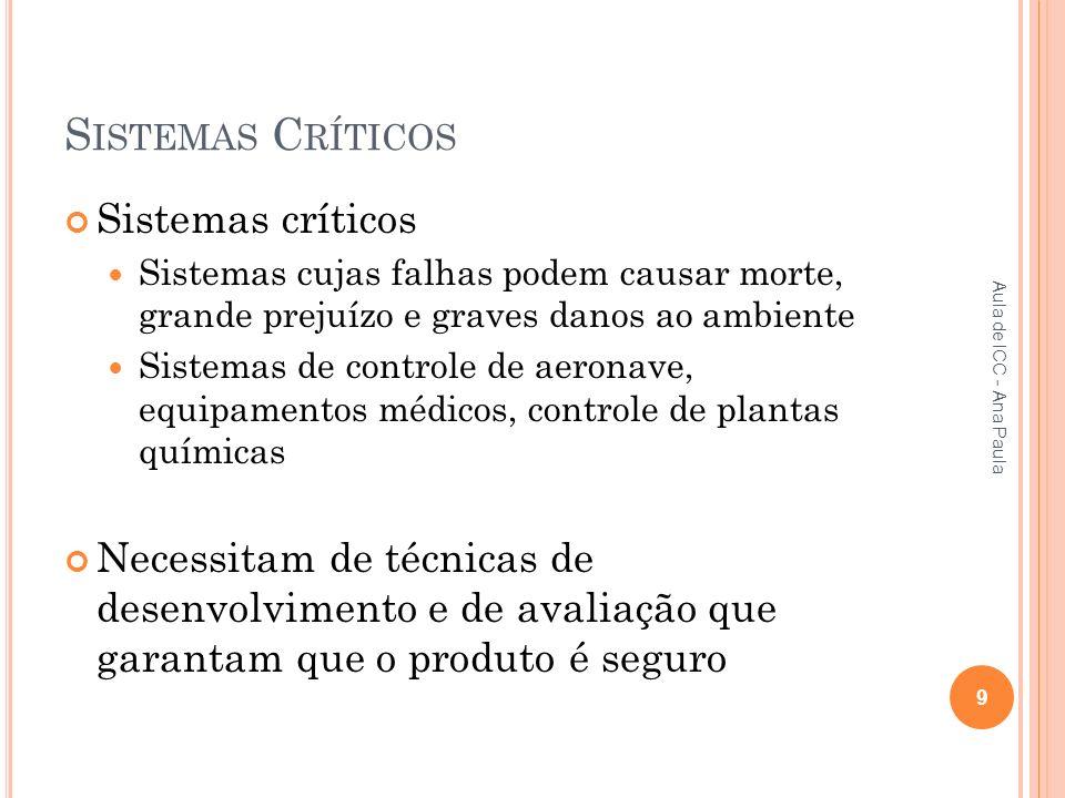 Sistemas Críticos Sistemas críticos