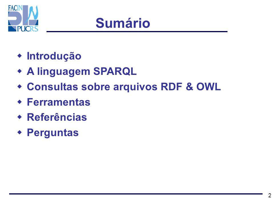 Sumário Introdução A linguagem SPARQL
