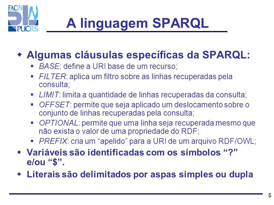 A linguagem SPARQL Algumas cláusulas específicas da SPARQL: