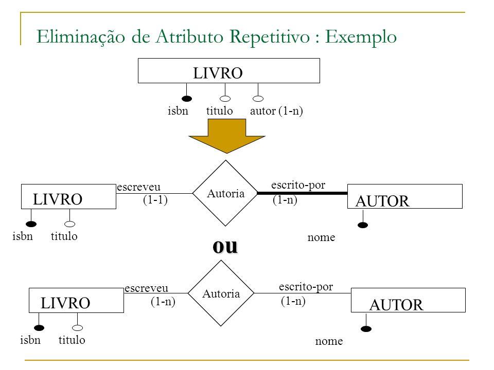 ou Eliminação de Atributo Repetitivo : Exemplo LIVRO LIVRO AUTOR LIVRO