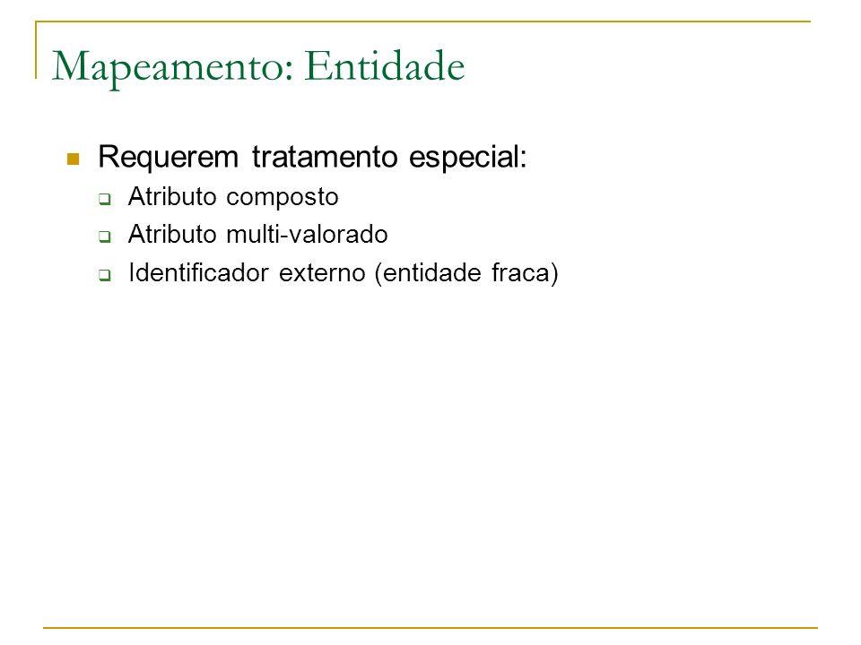 Mapeamento: Entidade Requerem tratamento especial: Atributo composto