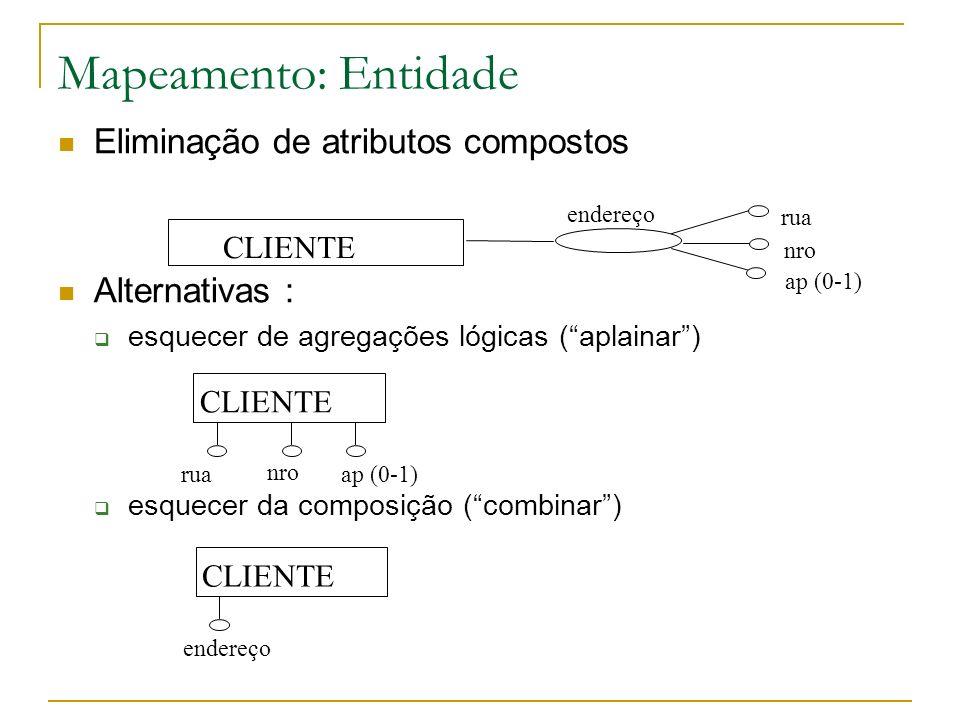 Mapeamento: Entidade Eliminação de atributos compostos Alternativas :