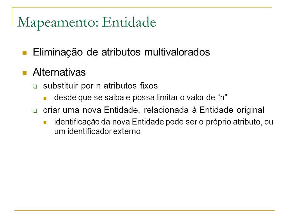 Mapeamento: Entidade Eliminação de atributos multivalorados