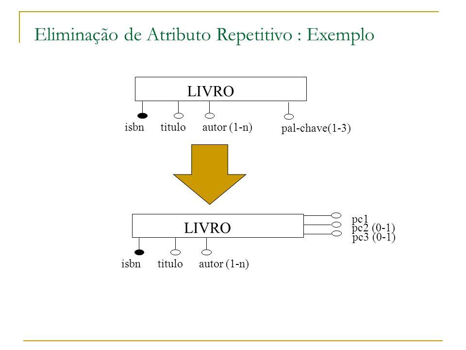Eliminação de Atributo Repetitivo : Exemplo