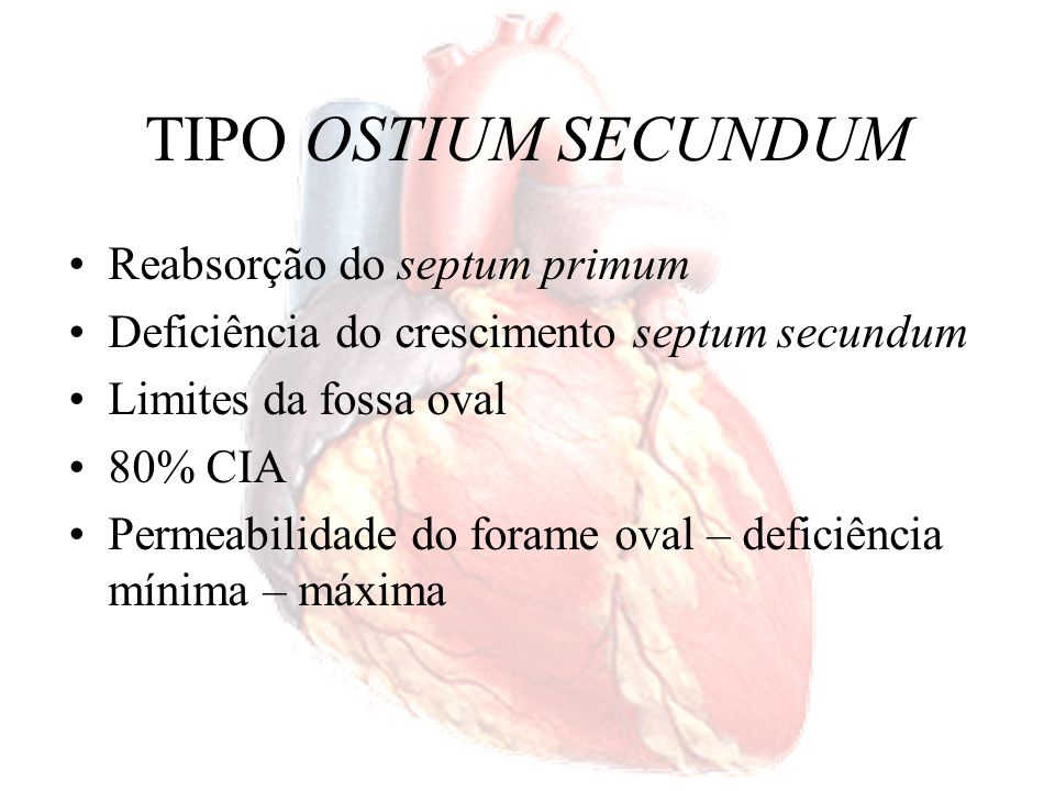 TIPO OSTIUM SECUNDUM Reabsorção do septum primum