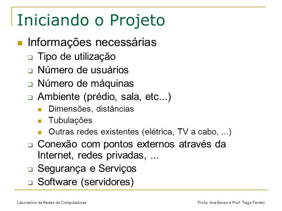 Iniciando o Projeto Informações necessárias Tipo de utilização