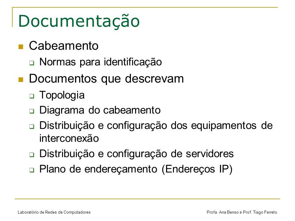 Documentação Cabeamento Documentos que descrevam