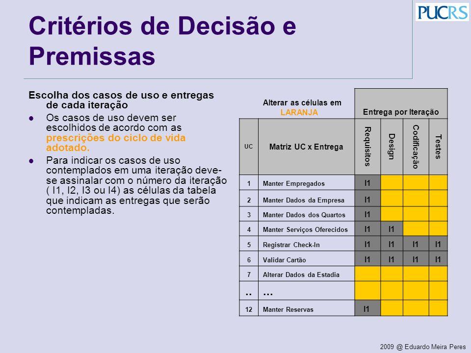 Critérios de Decisão e Premissas