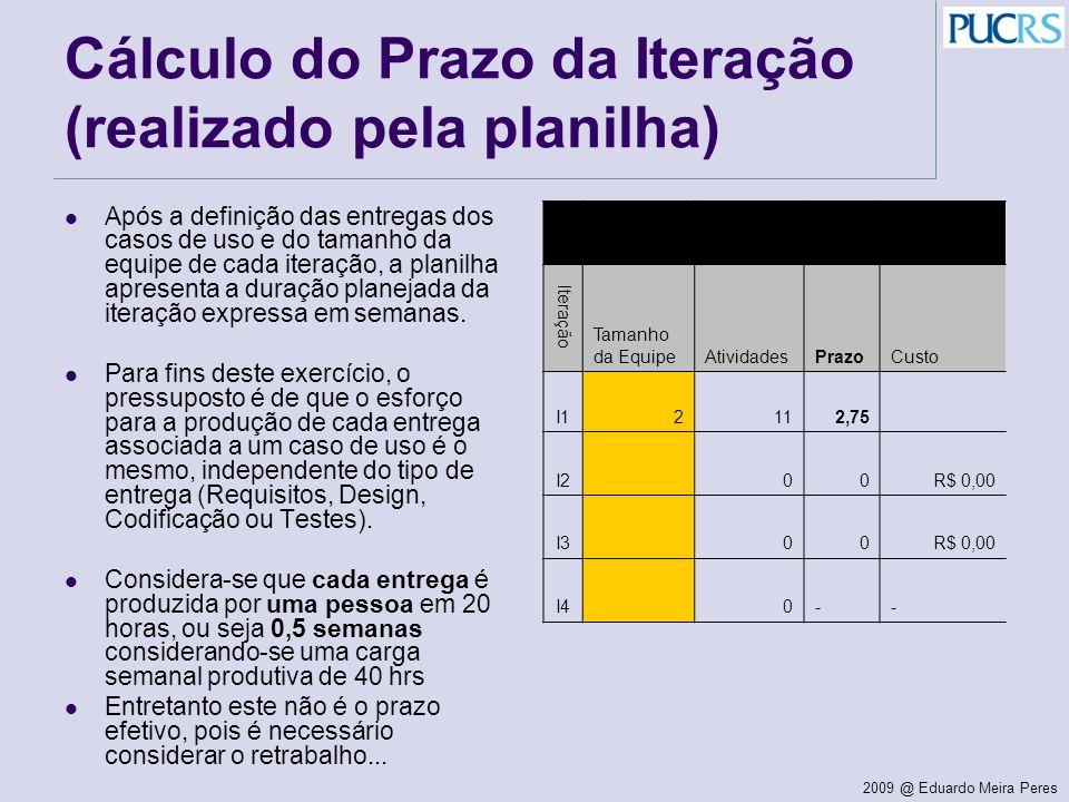 Cálculo do Prazo da Iteração (realizado pela planilha)