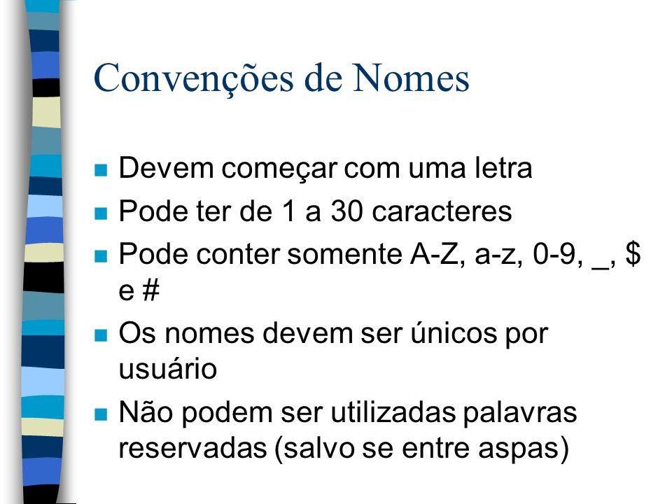 Convenções de Nomes Devem começar com uma letra