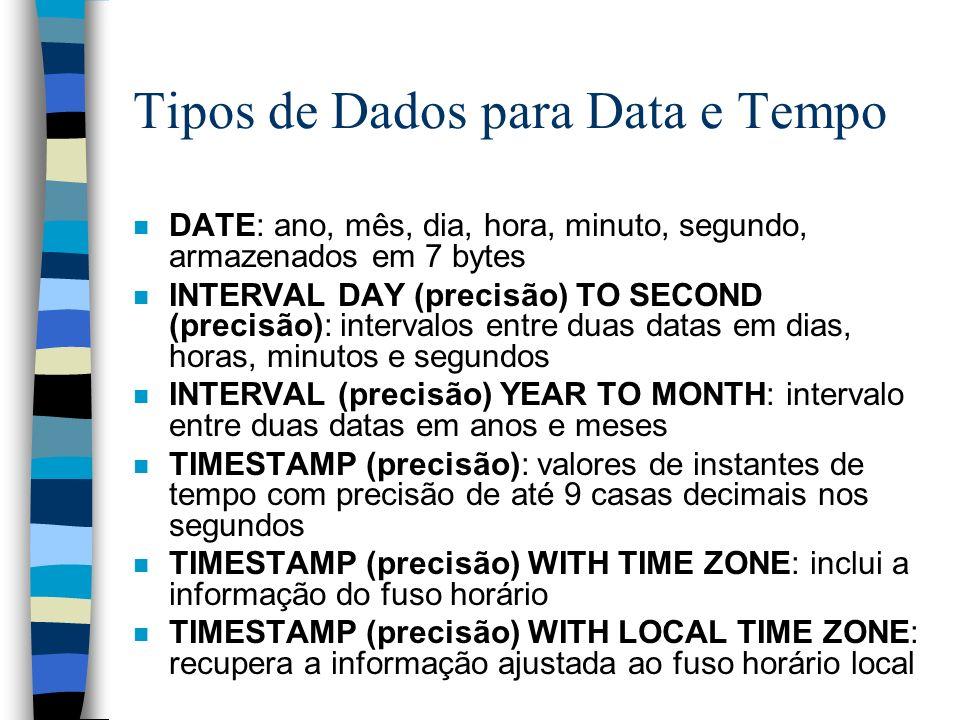 Tipos de Dados para Data e Tempo