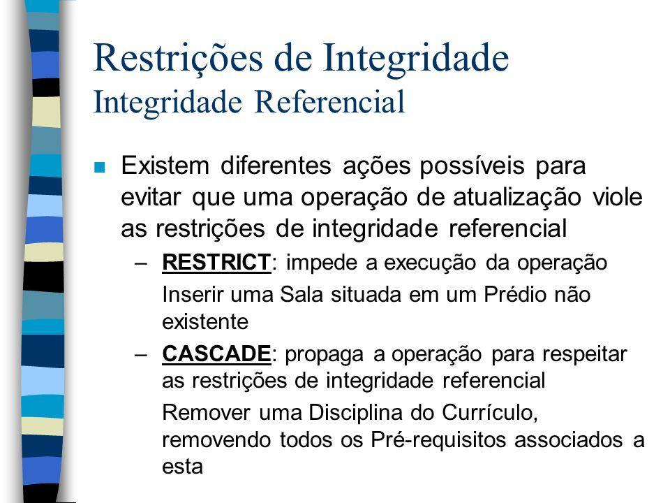 Restrições de Integridade Integridade Referencial