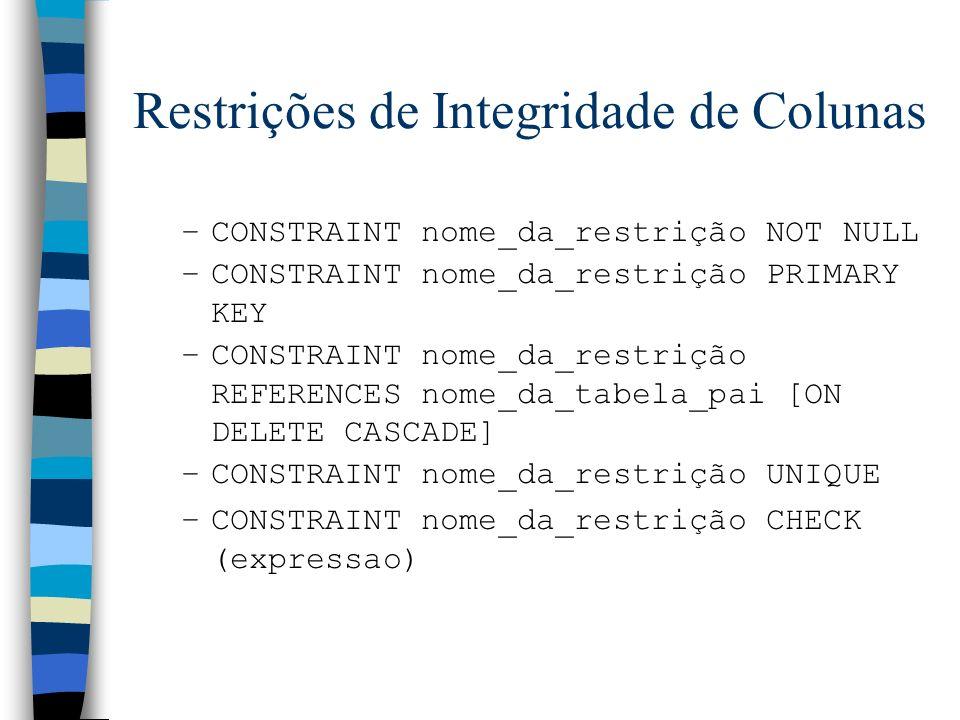 Restrições de Integridade de Colunas
