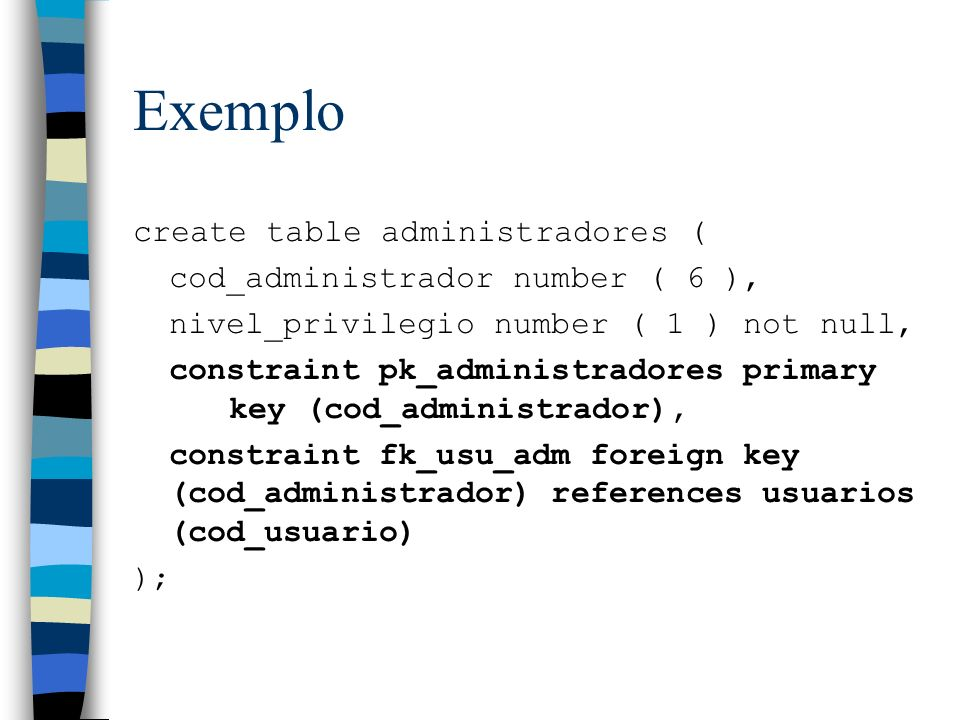 Exemplo create table administradores ( cod_administrador number ( 6 ),