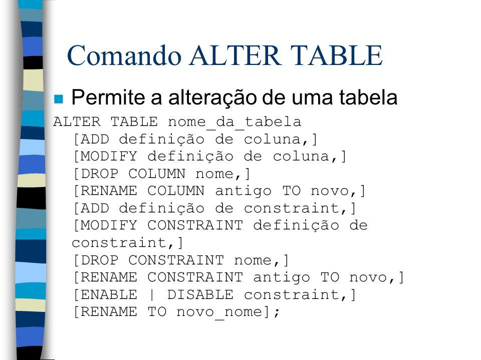 Comando ALTER TABLE Permite a alteração de uma tabela
