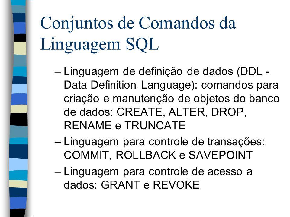 Conjuntos de Comandos da Linguagem SQL