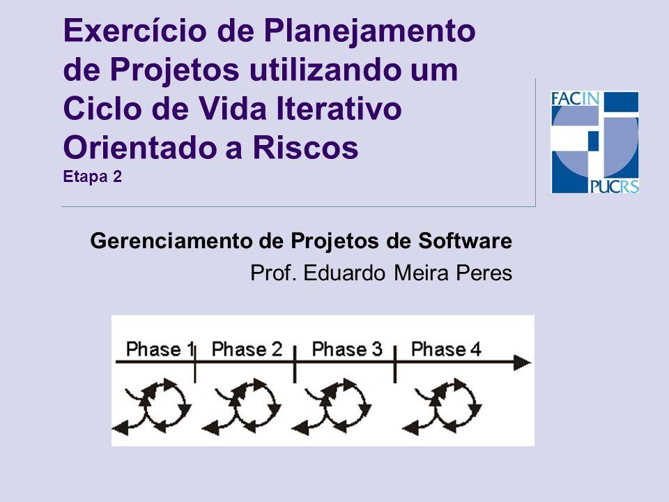 Gerenciamento de Projetos de Software Prof. Eduardo Meira Peres