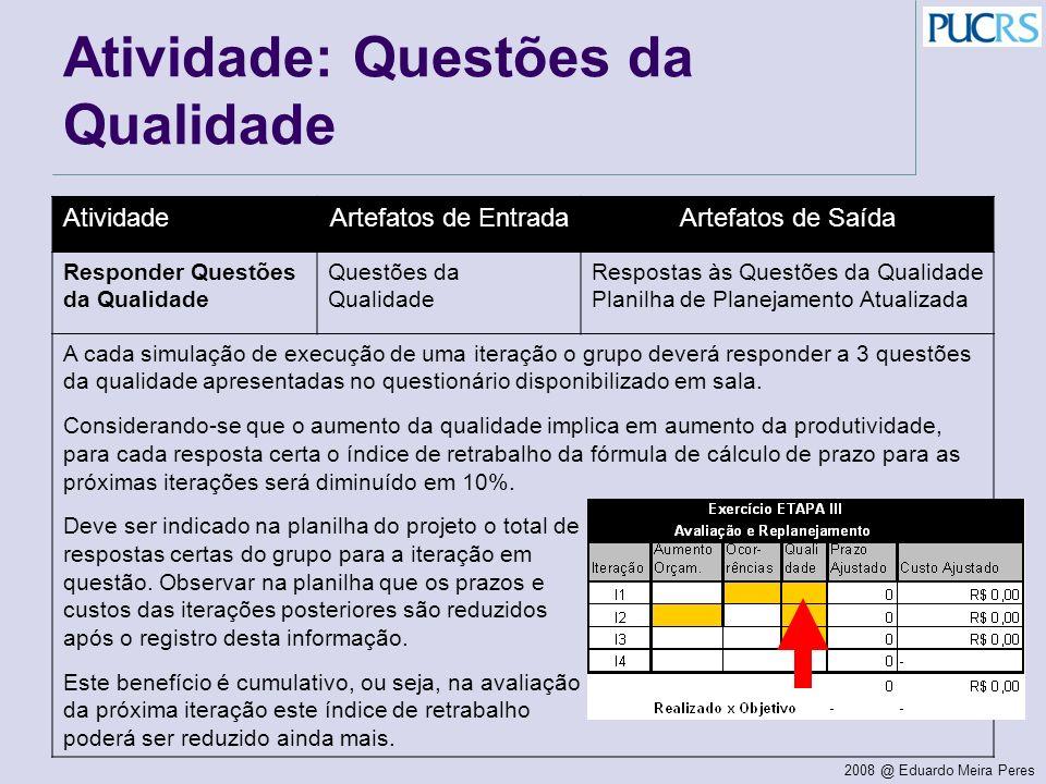 Atividade: Questões da Qualidade