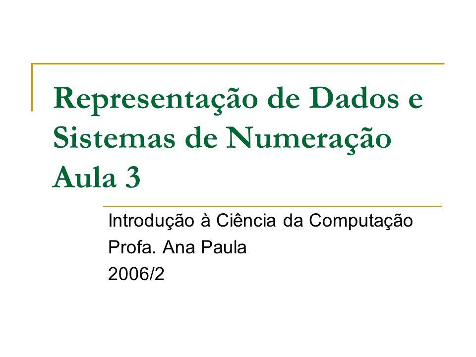Representação de Dados e Sistemas de Numeração Aula 3