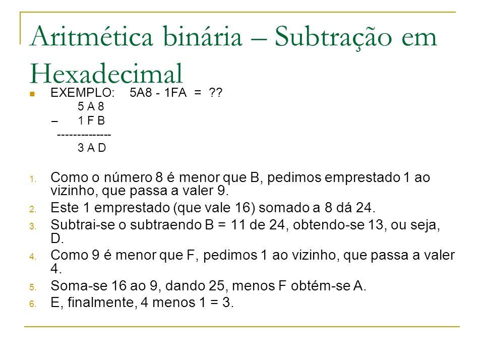 Aritmética binária – Subtração em Hexadecimal
