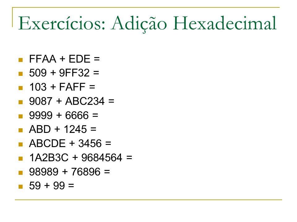 Exercícios: Adição Hexadecimal