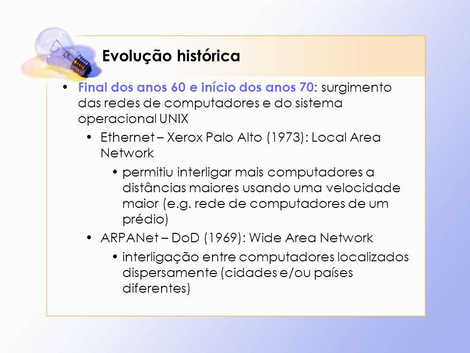 Evolução histórica Final dos anos 60 e início dos anos 70: surgimento das redes de computadores e do sistema operacional UNIX.