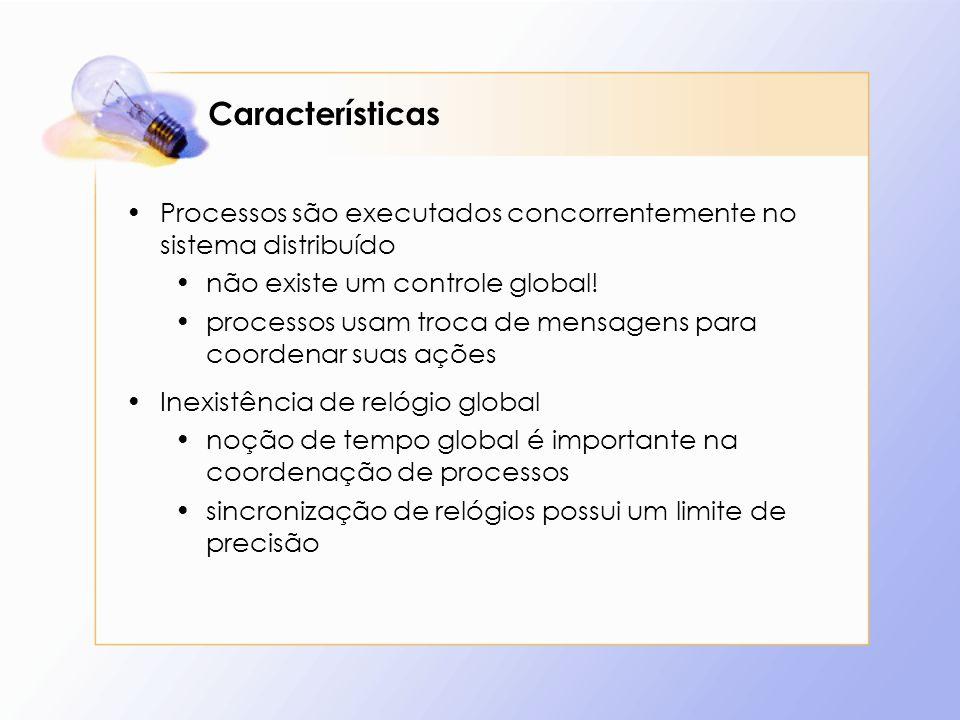 Características Processos são executados concorrentemente no sistema distribuído. não existe um controle global!