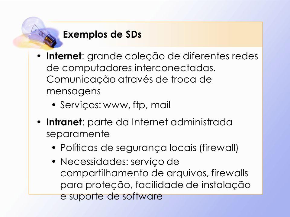 Exemplos de SDs Internet: grande coleção de diferentes redes de computadores interconectadas. Comunicação através de troca de mensagens.