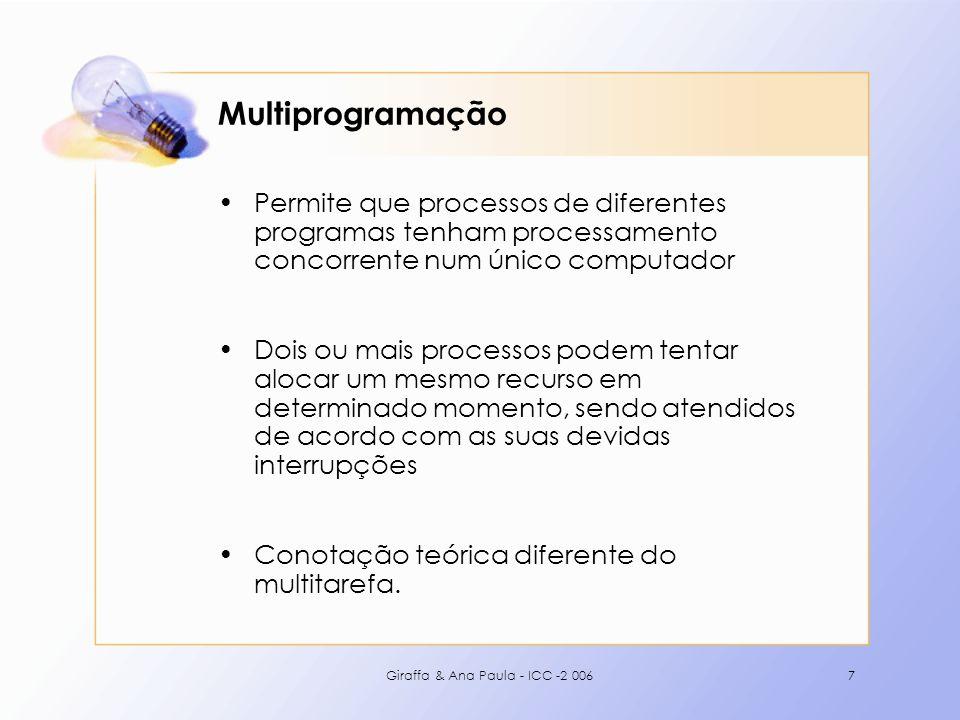 Multiprogramação Permite que processos de diferentes programas tenham processamento concorrente num único computador.
