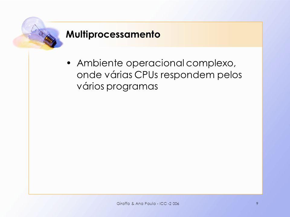 Multiprocessamento Ambiente operacional complexo, onde várias CPUs respondem pelos vários programas.