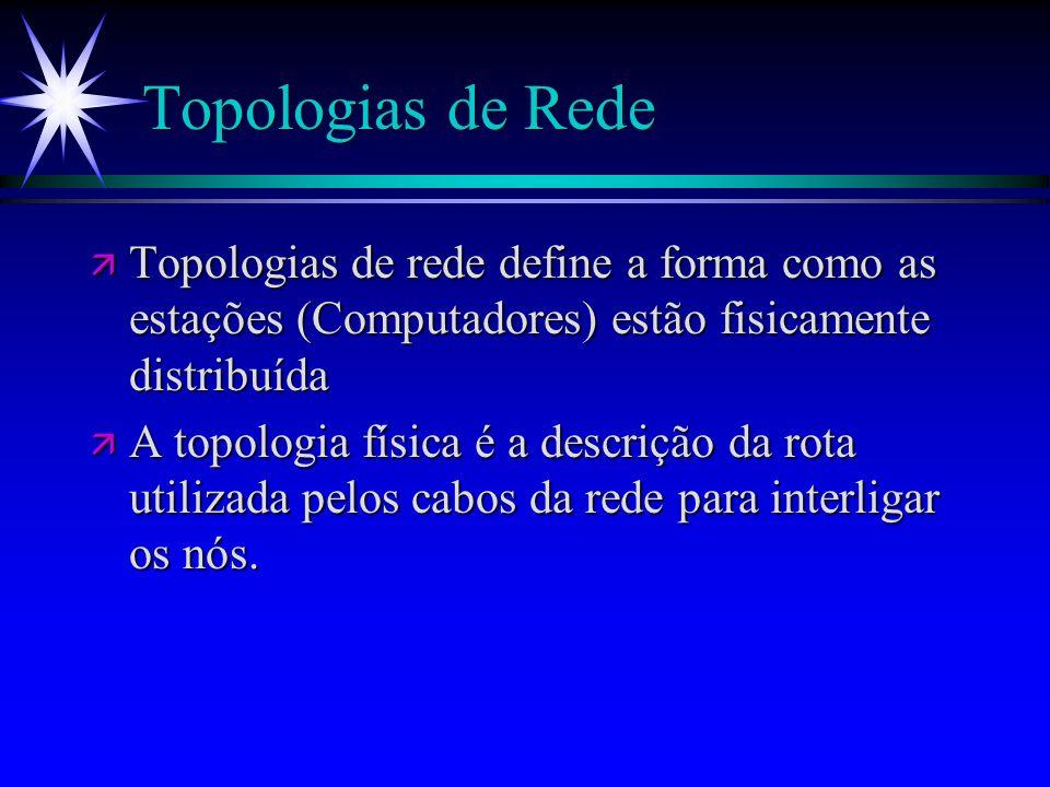 Topologias de RedeTopologias de rede define a forma como as estações (Computadores) estão fisicamente distribuída.