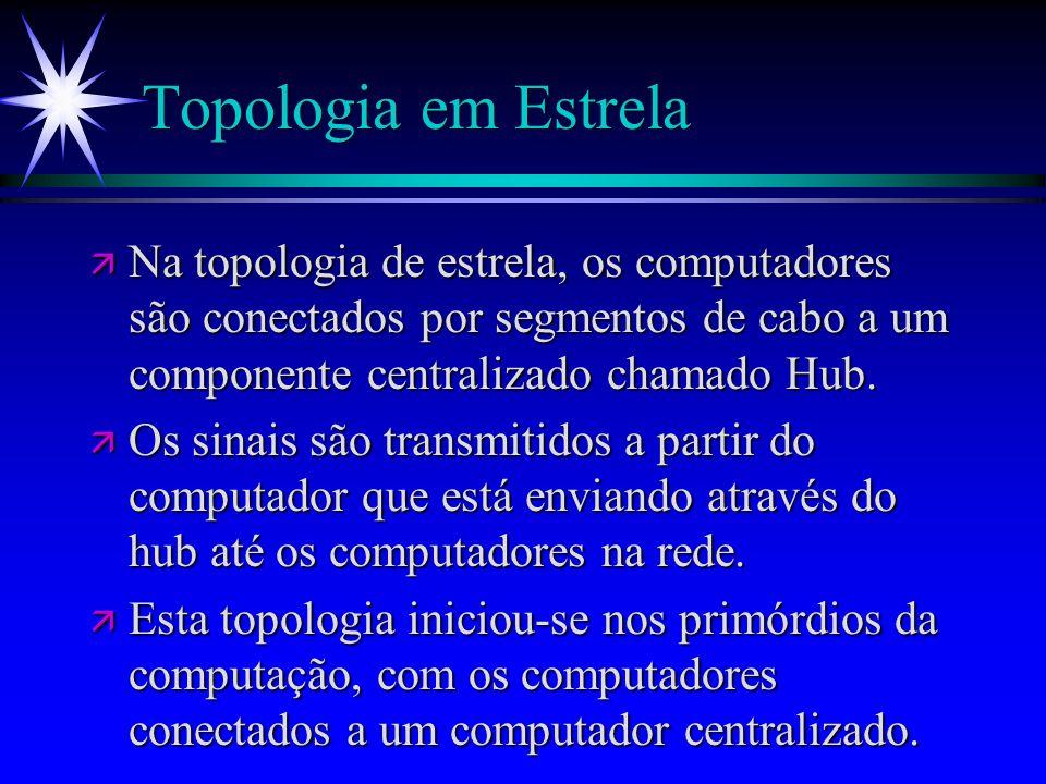 Topologia em Estrela Na topologia de estrela, os computadores são conectados por segmentos de cabo a um componente centralizado chamado Hub.
