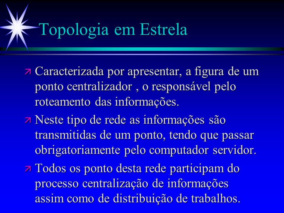 Topologia em EstrelaCaracterizada por apresentar, a figura de um ponto centralizador , o responsável pelo roteamento das informações.