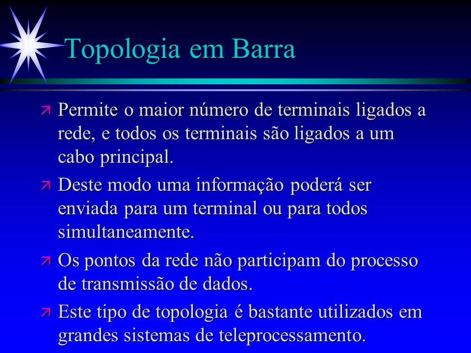 Topologia em BarraPermite o maior número de terminais ligados a rede, e todos os terminais são ligados a um cabo principal.