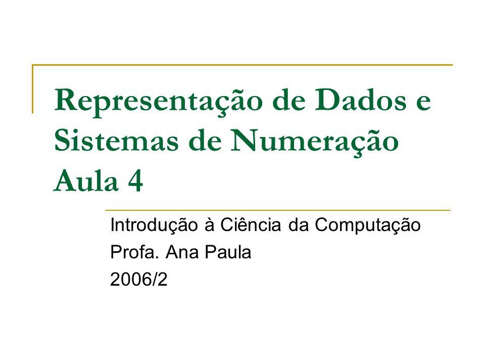 Representação de Dados e Sistemas de Numeração Aula 4