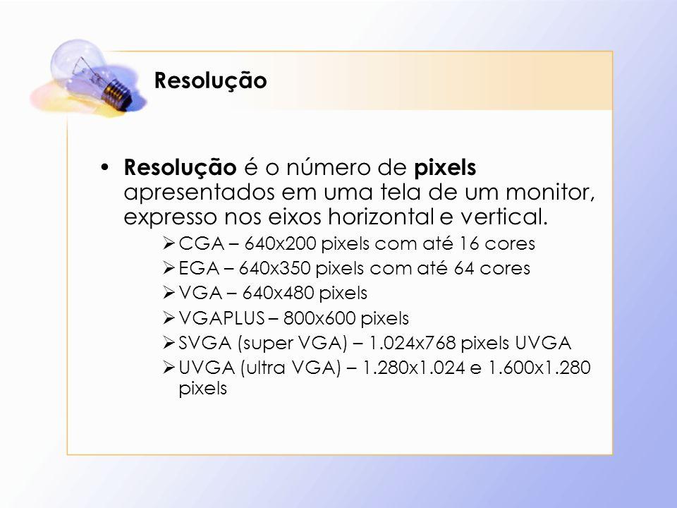 ResoluçãoResolução é o número de pixels apresentados em uma tela de um monitor, expresso nos eixos horizontal e vertical.