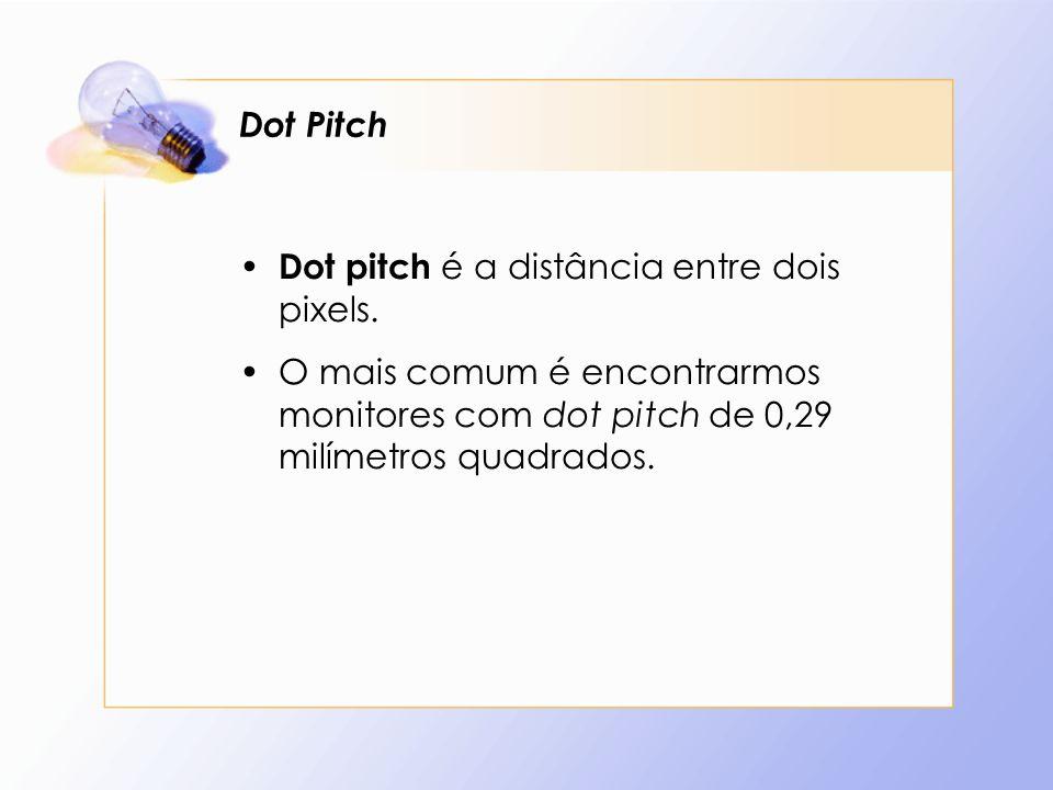 Dot Pitch Dot pitch é a distância entre dois pixels.