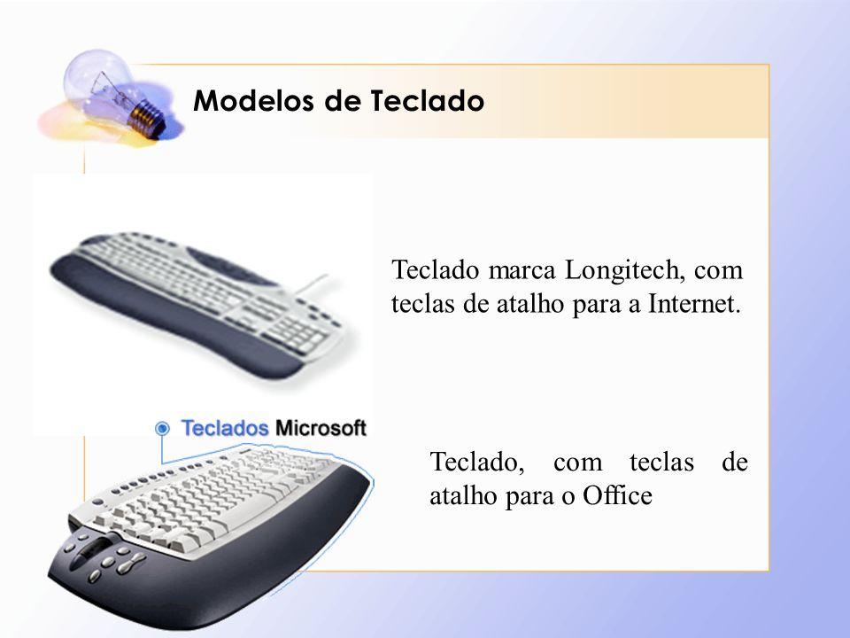 Modelos de Teclado Teclado marca Longitech, com teclas de atalho para a Internet.