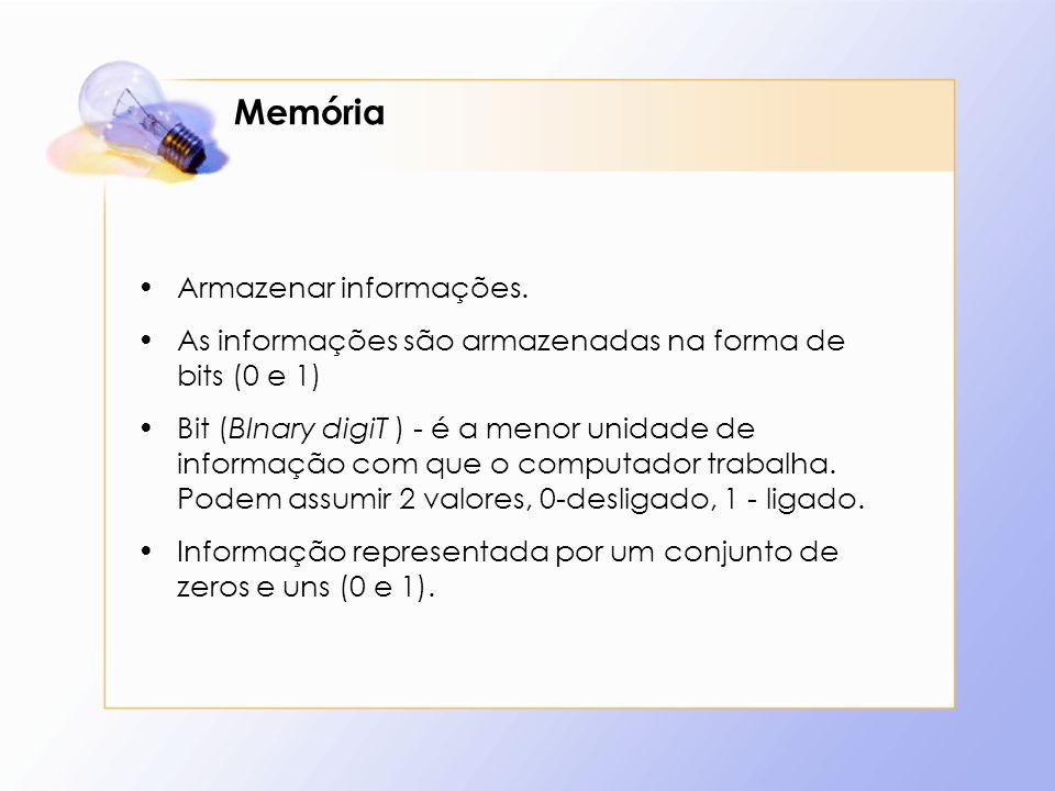 Memória Armazenar informações.