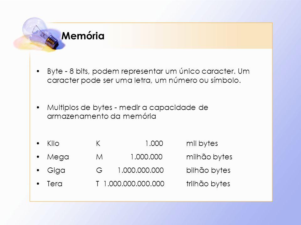 MemóriaByte - 8 bits, podem representar um único caracter. Um caracter pode ser uma letra, um número ou símbolo.